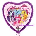 Jumbo Luftballon, Herz My Little Pony mit Rahmen aus Federn, Folienballon mit Ballongas