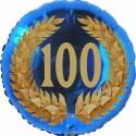 Luftballon aus Folie, 100. Geburtstag, Lorbeerkranz  Zahl 100, ohne Helium