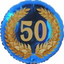 Luftballon aus Folie, 50. Geburtstag, Lorbeerkranz  Zahl 50, ohne Helium