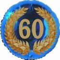 Luftballon aus Folie, 60. Geburtstag, Lorbeerkranz  Zahl 60, ohne Helium