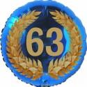Luftballon aus Folie, 63. Geburtstag, Lorbeerkranz Zahl 63, ohne Helium