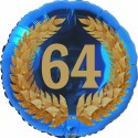 Luftballon aus Folie, 64. Geburtstag, Lorbeerkranz Zahl 64, ohne Helium
