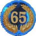 Luftballon aus Folie, 65. Geburtstag, Lorbeerkranz Zahl 65, ohne Helium