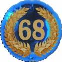 Luftballon aus Folie, 68. Geburtstag, Lorbeerkranz Zahl 68, ohne Helium