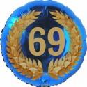 Luftballon aus Folie, 69. Geburtstag, Lorbeerkranz Zahl 69, ohne Helium