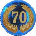 Luftballon aus Folie, 70. Geburtstag, Lorbeerkranz  Zahl 70, ohne Helium