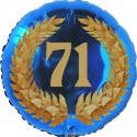 Luftballon aus Folie, 71. Geburtstag, Lorbeerkranz Zahl 71, ohne Helium
