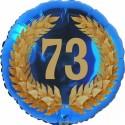 Luftballon aus Folie, 73. Geburtstag, Lorbeerkranz Zahl 73, ohne Helium