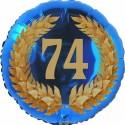 Luftballon aus Folie, 74. Geburtstag, Lorbeerkranz Zahl 74, ohne Helium
