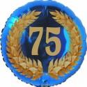Luftballon aus Folie, 75. Geburtstag, Lorbeerkranz Zahl 75, ohne Helium