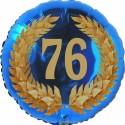 Luftballon aus Folie, 76. Geburtstag, Lorbeerkranz Zahl 76, ohne Helium