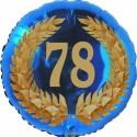 Luftballon aus Folie, 78. Geburtstag, Lorbeerkranz Zahl 78, ohne Helium