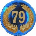 Luftballon aus Folie, 79. Geburtstag, Lorbeerkranz Zahl 79, ohne Helium