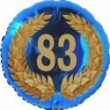 Luftballon aus Folie, 83. Geburtstag, Lorbeerkranz Zahl 83, ohne Helium