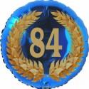 Luftballon aus Folie, 84. Geburtstag, Lorbeerkranz Zahl 84, ohne Helium