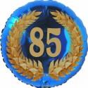 Luftballon aus Folie, 85. Geburtstag, Lorbeerkranz Zahl 85, ohne Helium