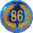 Luftballon aus Folie, 86. Geburtstag, Lorbeerkranz Zahl 86, ohne Helium