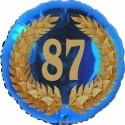 Luftballon aus Folie, 87. Geburtstag, Lorbeerkranz Zahl 87, ohne Helium