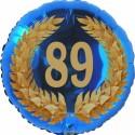 Luftballon aus Folie, 89. Geburtstag, Lorbeerkranz Zahl 89, ohne Helium