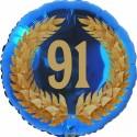 Luftballon aus Folie, 91. Geburtstag, Lorbeerkranz Zahl 91, ohne Helium