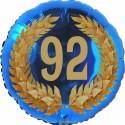 Luftballon aus Folie, 92. Geburtstag, Lorbeerkranz Zahl 92, ohne Helium