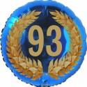 Luftballon aus Folie, 93. Geburtstag, Lorbeerkranz Zahl 93, ohne Helium