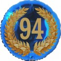 Luftballon aus Folie, 94. Geburtstag, Lorbeerkranz Zahl 94, ohne Helium