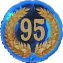 Luftballon aus Folie, 95. Geburtstag, Lorbeerkranz Zahl 95, ohne Helium