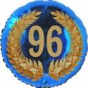 Luftballon aus Folie, 96. Geburtstag, Lorbeerkranz Zahl 96, ohne Helium