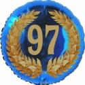 Luftballon aus Folie, 97. Geburtstag, Lorbeerkranz Zahl 97, ohne Helium