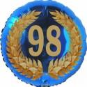 Luftballon aus Folie, 98. Geburtstag, Lorbeerkranz Zahl 98, ohne Helium