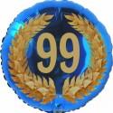 Luftballon aus Folie, 99. Geburtstag, Lorbeerkranz Zahl 99, ohne Helium
