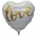 Love Gold Glimmer Herzballon zur Hochzeit, Folienballon, inklusive Helium-Ballongas