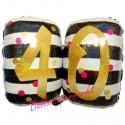 Zahlen-Luftballon zum 40. Geburtstag, Pink & Gold Milestone Birthday 40, Folienballon mit Ballongas