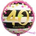 Luftballon aus Folie zum 40.Geburtstag, Pink & Gold Milestone 40, ohne Helium
