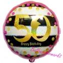 Luftballon aus Folie zum 50.Geburtstag, Pink & Gold Milestone 50, ohne Helium