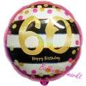 Luftballon aus Folie zum 60.Geburtstag, Pink & Gold Milestone 60, ohne Helium