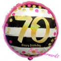 Luftballon aus Folie, Pink & Gold Milestone 70, zum 70. Geburtstag, mit Helium