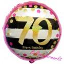 Luftballon aus Folie zum 70. Geburtstag, Pink & Gold Milestone 70, ohne Helium
