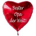 Bester Opa der Welt! Roter Herzluftballon aus Folie ohne Helium