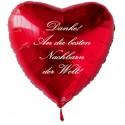 Danke! An die besten Nachbarn der Welt! Roter Herzluftballon aus Folie mit Ballongas-Helium