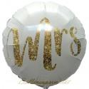 Mrs Gold Glimmer Rundballon zur Hochzeit, Folienballon, inklusive Helium-Ballongas