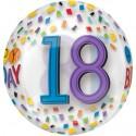 Luftballon Orbz zum 18.Geburtstag, Happy Birthday Rainbow 18, ohne Helium
