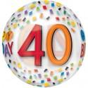 Luftballon Orbz zum 40. Geburtstag, Happy Birthday Rainbow 40, ohne Helium