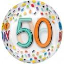 Luftballon Orbz zum 50. Geburtstag, Happy Birthday Rainbow 50, ohne Helium
