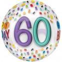 Luftballon Orbz zum 60. Geburtstag, Happy Birthday Rainbow 60, ohne Helium