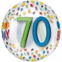 Luftballon Orbz, Happy Birthday Rainbow 70, Folienballon zum 70. Geburtstag, mit Helium