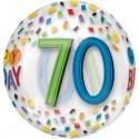 Luftballon Orbz zum 70. Geburtstag, Happy Birthday Rainbow 70, ohne Helium