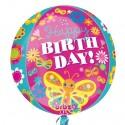 Luftballon Orbz Happy Birthday Schmetterling, Folienballon mit Ballongas