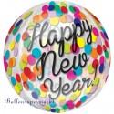 Silvester-Luftballon aus Folie, Orbz Happy New Year Konfetti, Folienballon mit Ballongas